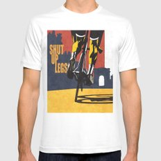 Retro Tour de France Cycling Illustration Poster: Shut Up Legs White Mens Fitted Tee MEDIUM