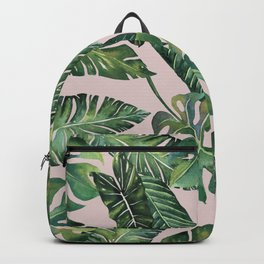Jungle Leaves, Banana, Monstera Pink #society6 Backpack