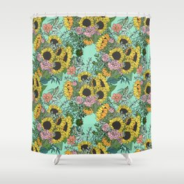 Trendy yellow sunflowers and pink roses mint design Shower Curtain
