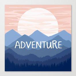 Adventure Sunset Vector Landscape Canvas Print