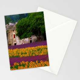 Sunflower and Lavender Fields, Tuscany Landscape by Jeanpaul Ferro Stationery Cards