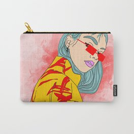 CUZ IM KOOL LIKE DAT - Cool Asian Female with Blue Hair Digital Drawing Carry-All Pouch