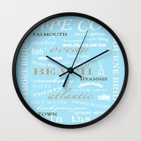 cape cod Wall Clocks featuring Cape Cod Typography Print by ELIZABETH THOMAS Photography of Cape Cod