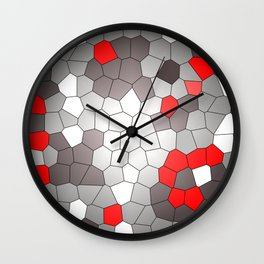 Mosaik grey white red Graphic Wall Clock