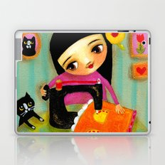 Little sewing girl with black cat Laptop & iPad Skin