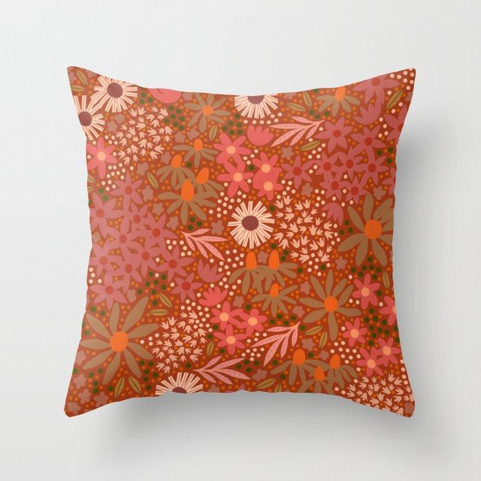 Pretty Pink Garden Throw Pillow