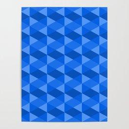 bleu rectangle Geometrics Poster