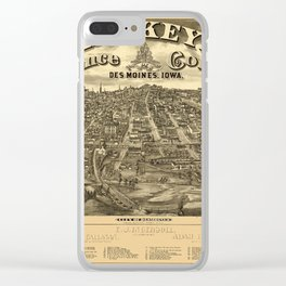 Map Of Des Moines 1818 Clear iPhone Case