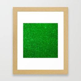 Emerald Green Shiny Metallic Glitter Framed Art Print