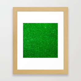 Emerald Green Shiny Metallic Glitter Framed Art Print