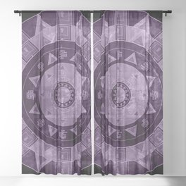 ethnic circle with watercolors Sheer Curtain