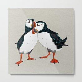 puffin pair warm grey Metal Print