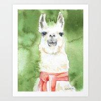 llama Art Prints featuring Llama by Susan Windsor