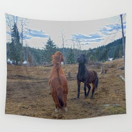The Challenge - Ranch Horses Fighting Wall Tapestry