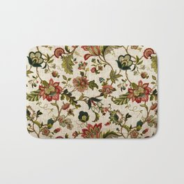Red Green Jacobean Floral Embroidery Pattern Bath Mat