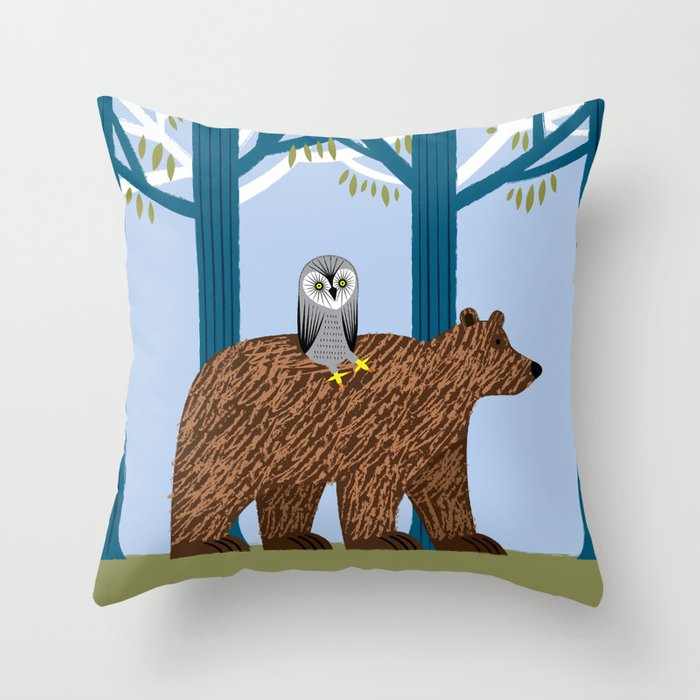 Night Owl Keepers curates The Owl and The Bear Throw Pillow by oliverlake at Society 6