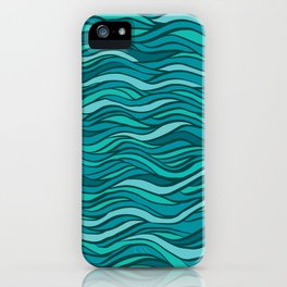 Excellence fantasy hand-drawn vector illustration with waves, hairs, seaweed iPhone Case
