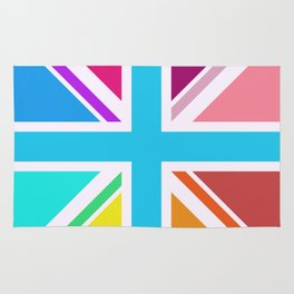 Square Based Union Jack/Flag Design Multicoloured Rug