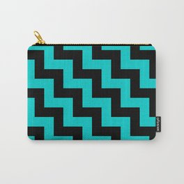 Black and Cyan Steps LTR Carry-All Pouch