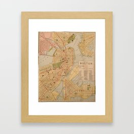 Vintage Map of Boston MA (1902) Framed Art Print