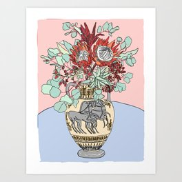 Greek Urn with Horses and Protea Bouquet Art Print