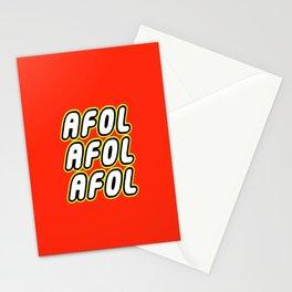 AFOL AFOL AFOL [ADULT FAN OF LEGO] in Brick Font by Chillee Wilson Stationery Cards