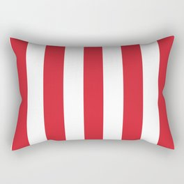 Amaranth red - solid color - white vertical lines pattern Rectangular Pillow