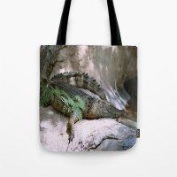 crocodile Tote Bags featuring crocodile by lennyfdzz
