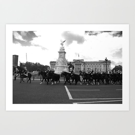 The Guards with their Horses b&w Art Print