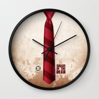 shaun of the dead Wall Clocks featuring SHAUN OF THE DEAD by VineDesign