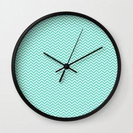 Tiffany Aqua Blue Mini Chevron Stripes Wall Clock