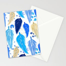 Watercolor Macrame Feathers + Dots in Blue Rainbow Stationery Cards
