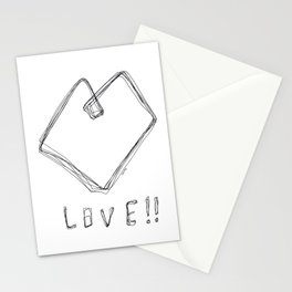 Love! Love! Love! - Heart Illustration Line Art Pop Art Stationery Cards