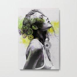 Burnt By The Sun (street art woman portrait with mandalas) Metal Print