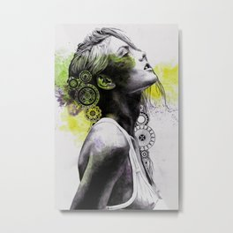 Burnt By The Sun | street art woman portrait with mandalas) Metal Print