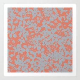 Floral Silhouette Pattern - Broken but Flourishing in Coral Art Print