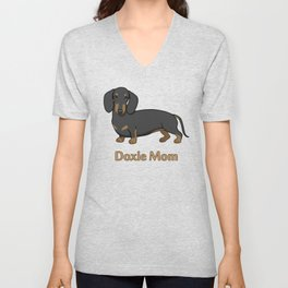 Cute Black Tan Dachshund Dog Doxie Mom Unisex V-Neck