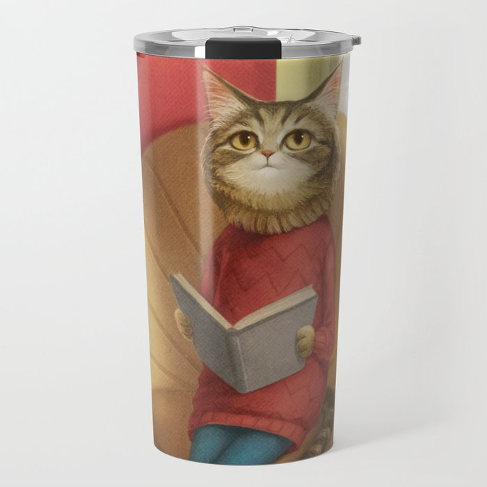 A cat reading a book Travel Mug