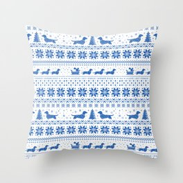 Love Joy Peace Wiener Dogs Blue Pattern Throw Pillow