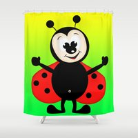 ladybug Shower Curtains featuring Ladybug by Digital-Art