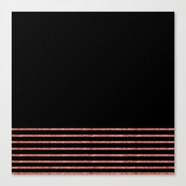 Black and Copper Stripes Canvas Print