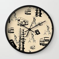 cities Wall Clocks featuring Travel Cities by ImPrintable
