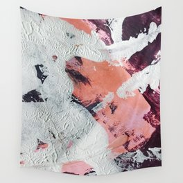 Taboo [2]: a vibrant, abstract, mixed-media piece in purple, orange, and light blue Wall Tapestry