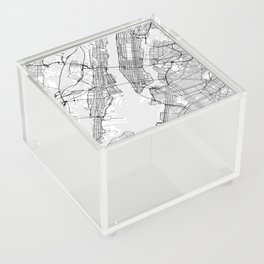 Scandinavian map of New York City in grayscale Acrylic Box