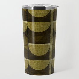 """Retro Olive green Chained Circles"" Travel Mug"