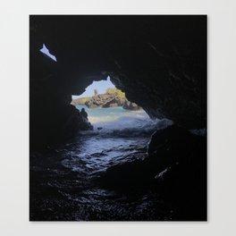 Black Sand Beach Cave Canvas Print