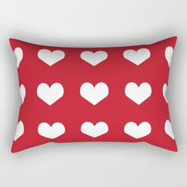 Hearts red and white minimal valentines day love gifts minimal gender neutral Rectangular Pillow