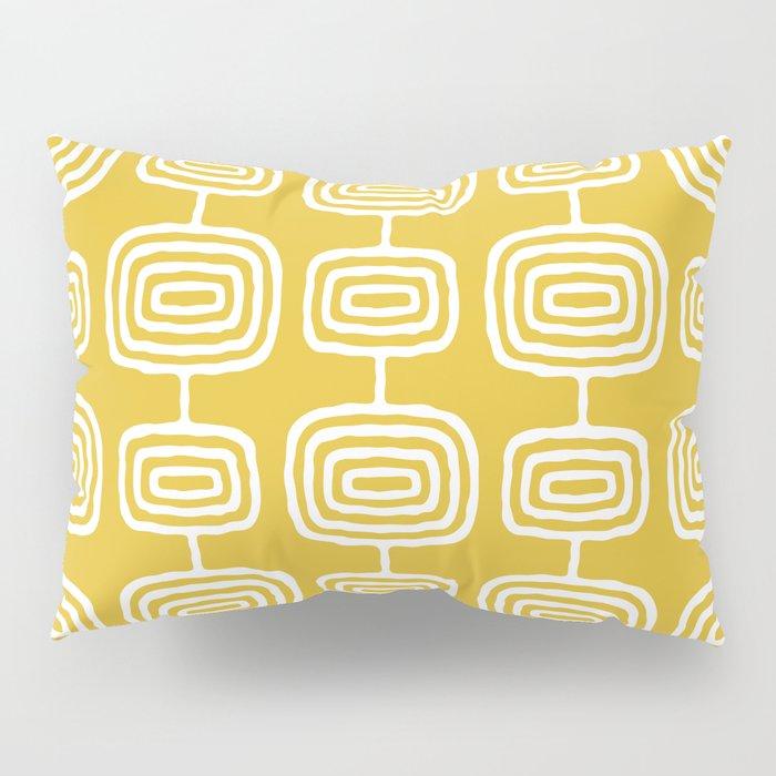 Mid Century Modern Atomic Rings Pattern Mustard Yellow Pillow Sham