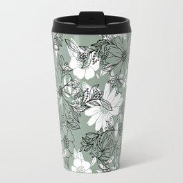 Vintage green black white hand drawn floral Travel Mug