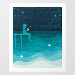 Boy with paper boats, watercolor teal art Art Print